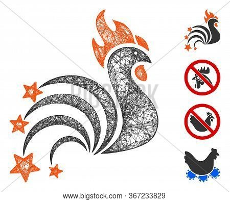 Mesh Rooster Sparkles Web Icon Vector Illustration. Model Is Based On Rooster Sparkles Flat Icon. Me