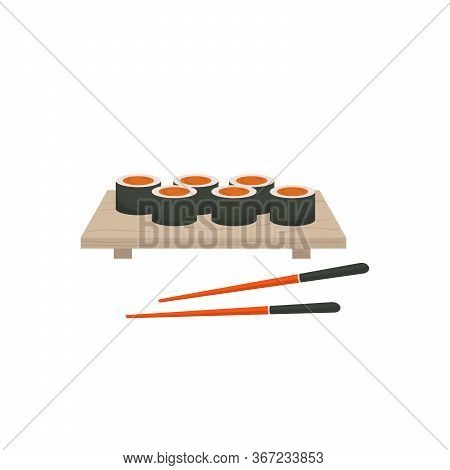 Asian Food Sushi On Wooden Board. Sushi Illustration With Trout Fish, Salmon And Caviar In Flat Mini
