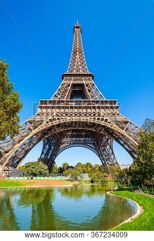 Eiffel Tower Or Tour Eiffel Is A Wrought Iron Lattice Tower On The Champ De Mars In Paris, France