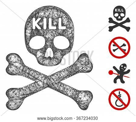 Mesh Kill Death Web Icon Vector Illustration. Model Is Based On Kill Death Flat Icon. Mesh Forms Abs