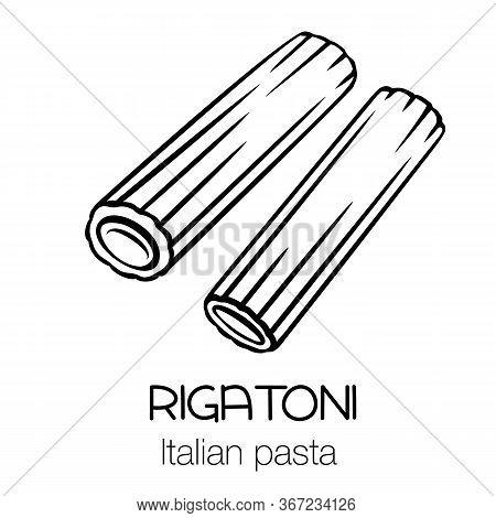 Rigatoni Pasta Outline Icon. Italian Cuisine Drawn Badge. Retro Style Vector Illustration.