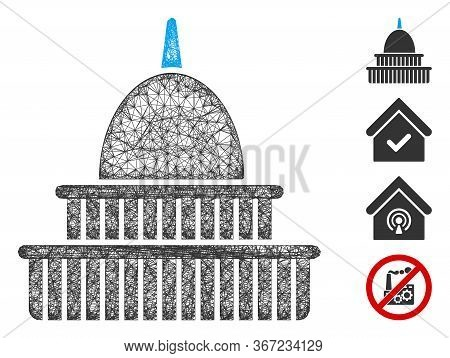 Mesh Government Building Web Icon Vector Illustration. Abstraction Is Based On Government Building F