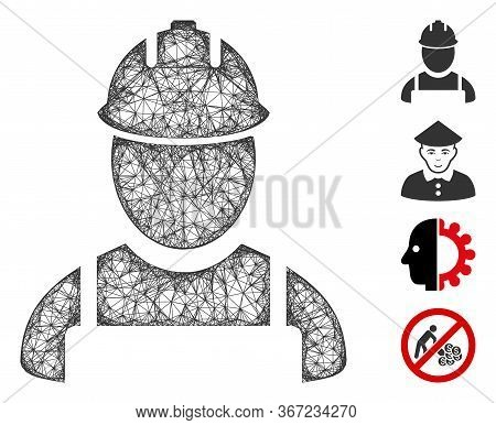Mesh Worker Web Icon Vector Illustration. Carcass Model Is Based On Worker Flat Icon. Mesh Forms Abs