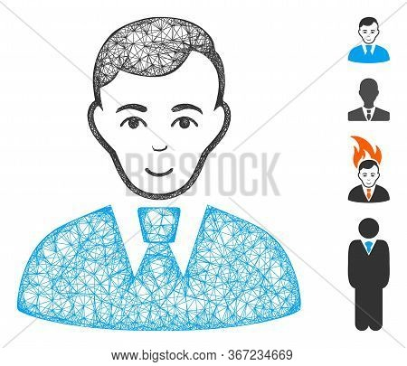 Mesh Clerk Guy Web Icon Vector Illustration. Abstraction Is Based On Clerk Guy Flat Icon. Mesh Forms