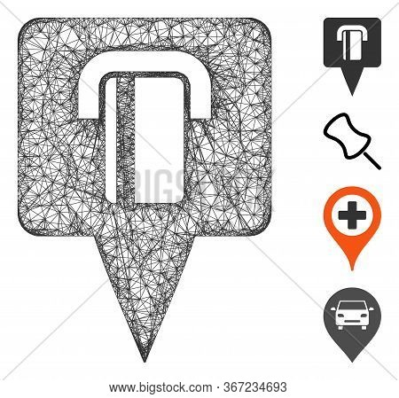 Mesh Bank Terminal Map Pointer Web Symbol Vector Illustration. Carcass Model Is Based On Bank Termin