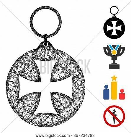 Mesh Maltese Cross Medal Web Icon Vector Illustration. Model Is Created From Maltese Cross Medal Fla