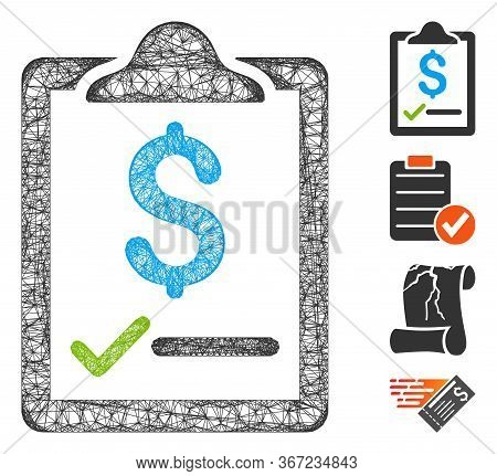 Mesh Contract Web Icon Vector Illustration. Carcass Model Is Based On Contract Flat Icon. Network Fo