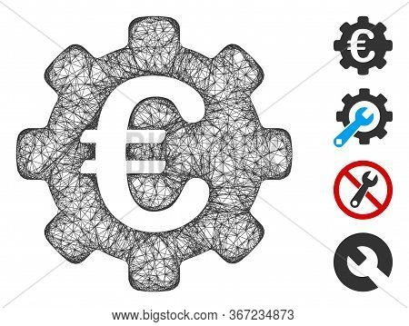 Mesh Euro Options Web 2d Vector Illustration. Carcass Model Is Based On Euro Options Flat Icon. Netw