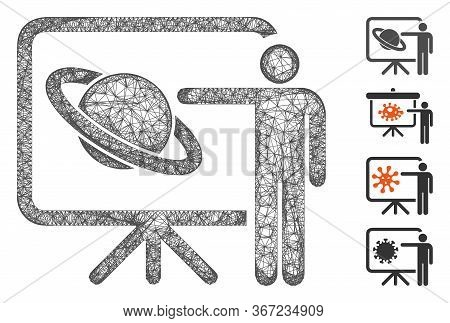 Mesh Lecture Web Symbol Vector Illustration. Model Is Based On Lecture Flat Icon. Network Forms Abst