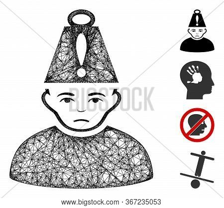 Mesh Head Stress Web Icon Vector Illustration. Abstraction Is Based On Head Stress Flat Icon. Networ