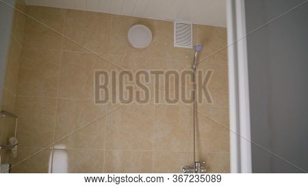 Shower In The Bathroom. Luxurious Fully Tiled Shower With Hand Shower.