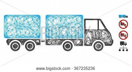 Mesh Trailer Web Symbol Vector Illustration. Model Is Created From Trailer Flat Icon. Mesh Forms Abs