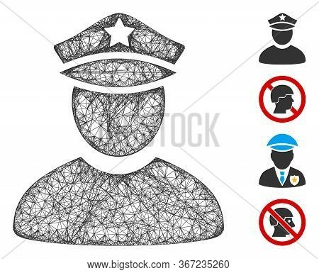 Mesh Policeman Web Icon Vector Illustration. Model Is Based On Policeman Flat Icon. Mesh Forms Abstr
