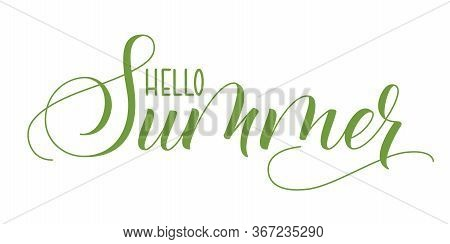 Modern Brush Calligraphy Hello Summer Isolated On A White Background. Vector Illustration.