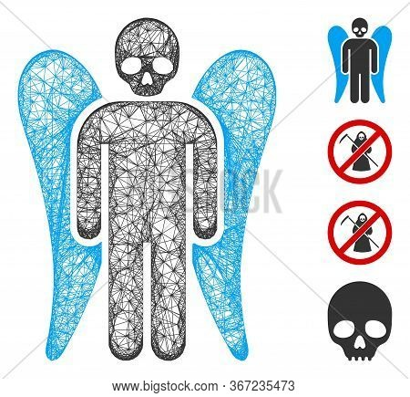 Mesh Death Angel Web Icon Vector Illustration. Carcass Model Is Based On Death Angel Flat Icon. Mesh