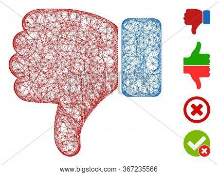Mesh Thumb Down Web Symbol Vector Illustration. Carcass Model Is Based On Thumb Down Flat Icon. Netw