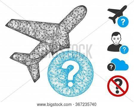 Mesh Airplane Status Web Icon Vector Illustration. Model Is Based On Airplane Status Flat Icon. Mesh