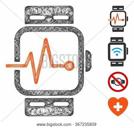 Mesh Medical Watches Web Icon Vector Illustration. Model Is Based On Medical Watches Flat Icon. Mesh