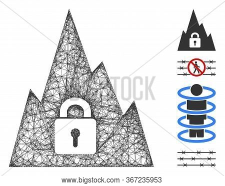 Mesh Locked Tunnel Web Icon Vector Illustration. Carcass Model Is Based On Locked Tunnel Flat Icon.
