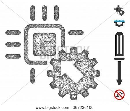 Mesh Hitech Processor And Gear Integration Web Icon Vector Illustration. Carcass Model Is Based On H