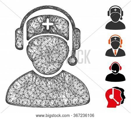 Mesh Doctor Call Center Web Symbol Vector Illustration. Model Is Based On Doctor Call Center Flat Ic