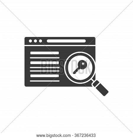 Seo Keywording Black Glyph Icon. Digital Marketing Sign. Metadata Vector Pictogram. Website Ranking