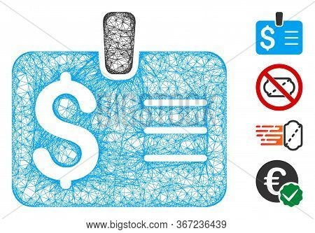 Mesh Dollar Badge Web 2d Vector Illustration. Carcass Model Is Based On Dollar Badge Flat Icon. Mesh