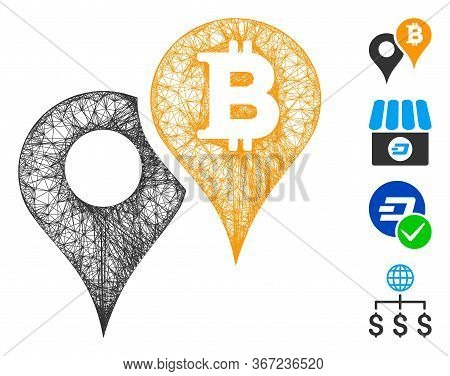 Mesh Bitcoin Map Markers Web Symbol Vector Illustration. Carcass Model Is Based On Bitcoin Map Marke