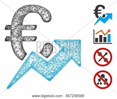 Mesh Euro Growth Web 2d Vector Illustration. Carcass Model Is Based On Euro Growth Flat Icon. Networ