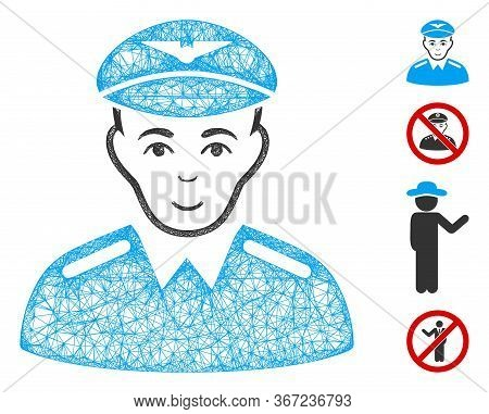 Mesh Aviator Web Icon Vector Illustration. Carcass Model Is Based On Aviator Flat Icon. Network Form
