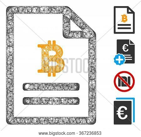 Mesh Bitcoin Price Page Web 2d Vector Illustration. Carcass Model Is Based On Bitcoin Price Page Fla