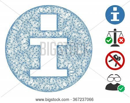 Mesh Info Web 2d Vector Illustration. Carcass Model Is Based On Info Flat Icon. Mesh Forms Abstract