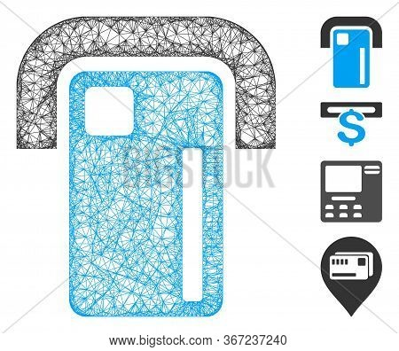 Mesh Payment Terminal Web Icon Vector Illustration. Carcass Model Is Based On Payment Terminal Flat