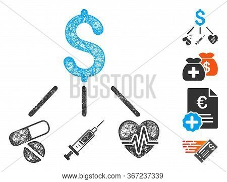 Mesh Medical Budget Web Icon Vector Illustration. Model Is Based On Medical Budget Flat Icon. Networ