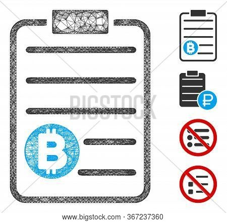 Mesh Bitcoin Price List Web Icon Vector Illustration. Model Is Created From Bitcoin Price List Flat