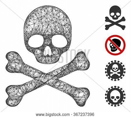 Mesh Death Web Icon Vector Illustration. Carcass Model Is Based On Death Flat Icon. Network Forms Ab