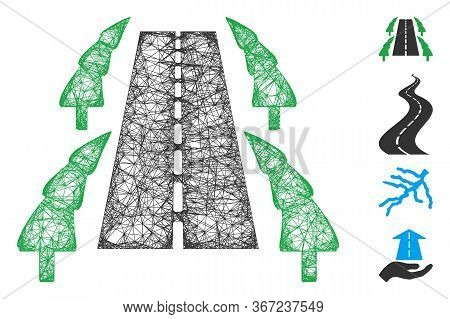 Mesh Tree Alley Road Web Icon Vector Illustration. Carcass Model Is Based On Tree Alley Road Flat Ic