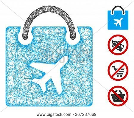Mesh Duty Free Shopping Web Icon Vector Illustration. Carcass Model Is Based On Duty Free Shopping F