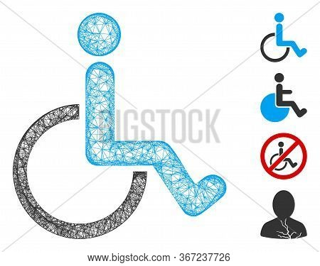 Mesh Disabled Person Web Symbol Vector Illustration. Carcass Model Is Based On Disabled Person Flat