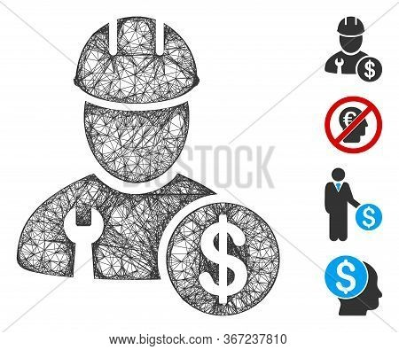 Mesh Worker Salary Web Icon Vector Illustration. Carcass Model Is Created From Worker Salary Flat Ic