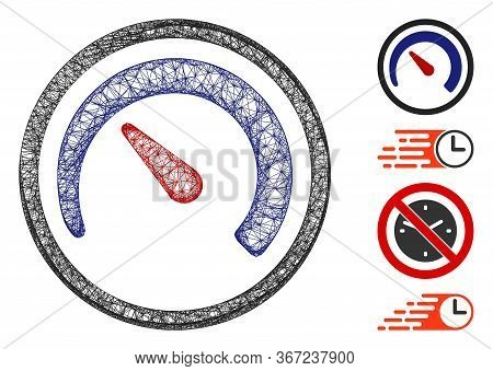 Mesh Speedometer Web Icon Vector Illustration. Model Is Based On Speedometer Flat Icon. Network Form