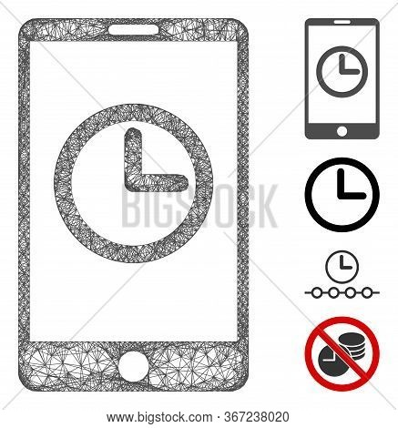 Mesh Mobile Clock Web Icon Vector Illustration. Model Is Created From Mobile Clock Flat Icon. Networ