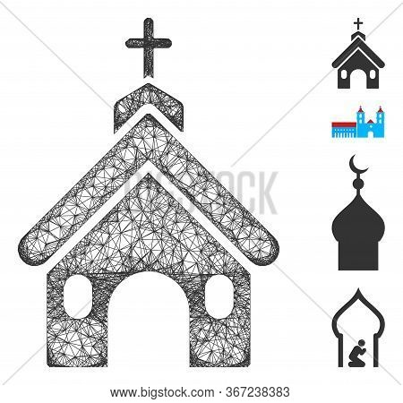 Mesh Church Web Icon Vector Illustration. Carcass Model Is Based On Church Flat Icon. Network Forms