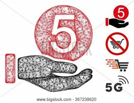 Mesh Five Cents Payment Web Icon Vector Illustration. Carcass Model Is Based On Five Cents Payment F