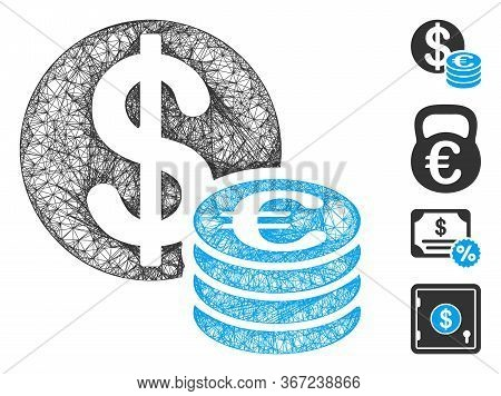Mesh Euro And Dollar Coins Web Icon Vector Illustration. Abstraction Is Based On Euro And Dollar Coi