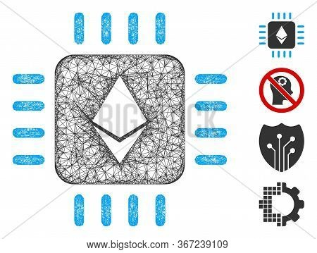 Mesh Ethereum Processor Chip Web 2d Vector Illustration. Carcass Model Is Based On Ethereum Processo
