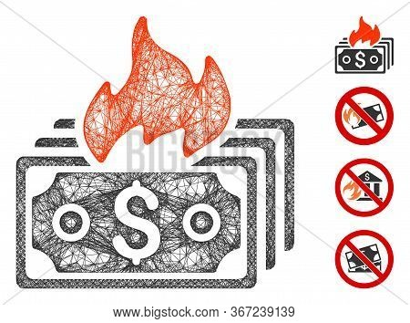 Mesh Burn Banknotes Web Icon Vector Illustration. Carcass Model Is Created From Burn Banknotes Flat