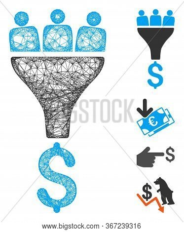 Mesh Sales Funnel Web Symbol Vector Illustration. Abstraction Is Based On Sales Funnel Flat Icon. Ne