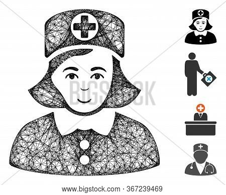 Mesh Nurse Web Symbol Vector Illustration. Model Is Based On Nurse Flat Icon. Mesh Forms Abstract Nu
