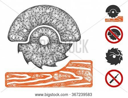 Mesh Circular Wood Cutter Web Icon Vector Illustration. Abstraction Is Based On Circular Wood Cutter